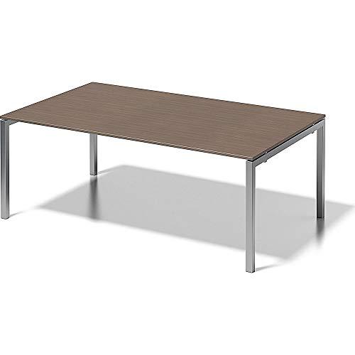 BISLEY Cito Chefarbeitsplatz/Konferenztisch, 740 mm höhenfixes U, H 19 x B 2000 x T 1200 mm, Metall, Wn355 Dekor Nußbaum, Gestell Silber, 120 x 200...