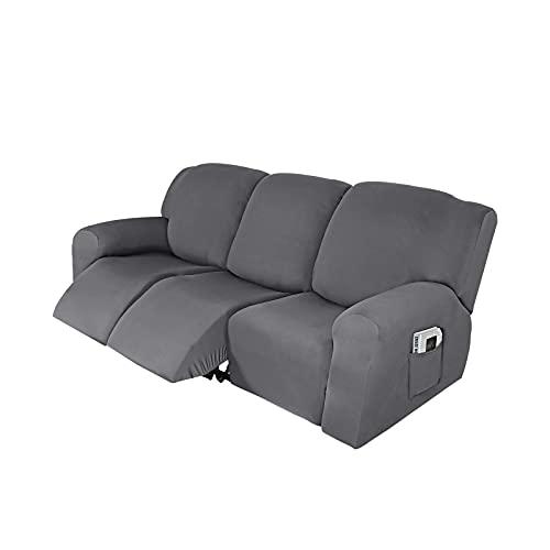 HUANXA Funda reclinable elástica de 3 plazas, Funda reclinable para Suave de 8 Piezas Funda cómoda para sofá Funda para sillón Protector Antideslizante Lavable para Muebles