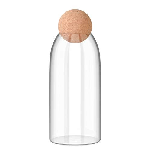 BESTonZON Klarglas Vorratsglas mit Korkkugel Maurer Kanister mit Kugelförmigem Holzdeckel Ideal Zur Aufbewahrung von Tee Süßigkeiten Und Kaffee 1200Ml