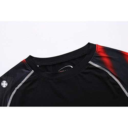 Herren Kompressions-Shirt langärmlig Funktionsshirts Fitness Baselayer Langarm Sport Longsleeve Shirt Top Bluse Slim Fit,17style - 4