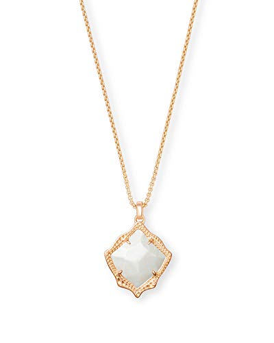 Kendra Scott Kacey Adjustable Length Pendant Necklace for Women, Fashion Jewelry, 14k Rose Gold-Plated, Ivory Mother of Pearl