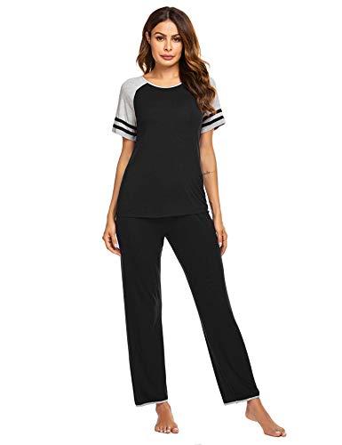 Ekouaer Pjs Womens Soft Pajama Short Sleeve Top and Pants Sleepwear Set Black Medium