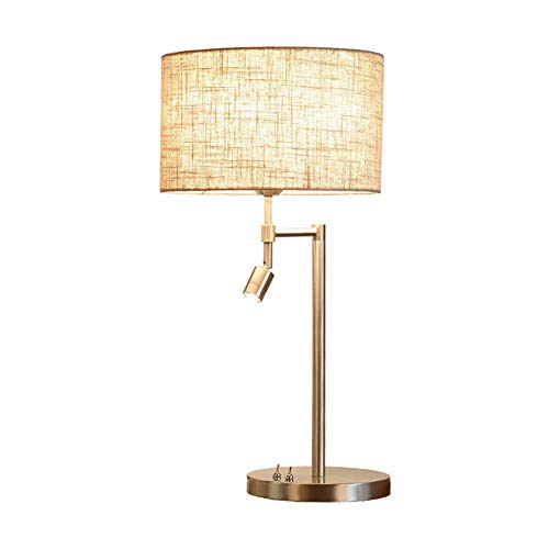 FYLD Retro-stijl doek tafellamp, bedlampje met lijn shade, nikkel geborsteld bureaulamp - geschikt voor woonkamer, kantoor, slaapkamer, bijzettafel, 30 * 20 * 60 cm (E27,220V)