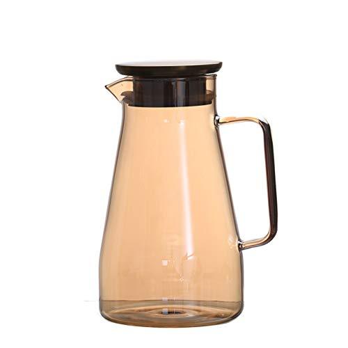 QAX Jarra de cristal de 1600 ml con asa y tapa, jarra de agua hecha a mano para agua caliente/fría, té de limón y zumo de bebidas, ámbar, hervidor de agua