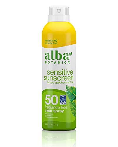 Alba Botanica Sensitive Sunscreen Spray, SPF 50, Fragrance Free, 6 Oz