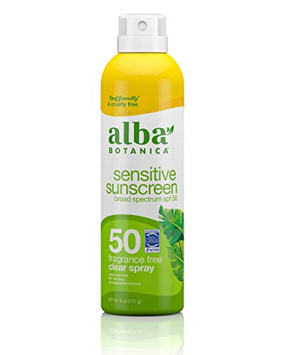 Alba Botanica Sensitive Sunscreen Spray, SPF 50, Fragrance Free, 6 Oz