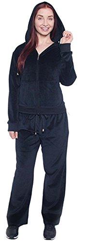 Fancy Jade Women's Plus Size Athletic Soft Velour Zip Hoodie and Sweat Pants Set (Black, 3X)