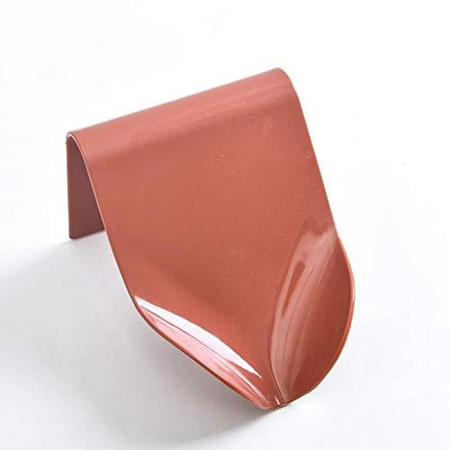 JSJJAKM Jaboneras 1 soporte para jabonera, jabonera, platos de ducha, caja de almacenamiento de jabón con drenaje montado en la pared suministros de plástico autoadhesivo (color 03 rojo, tamaño: L)