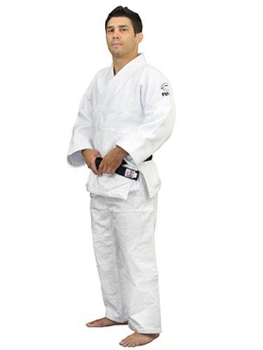 FUJI mens Double Weave Judo Gi, Thick Collar Cotton-Blend Judo Uniform , White , 5