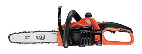 BLACK+DECKER GKC1825L20-QW GKC1825L20-QW Tronçonneuse sans fil - 2 Ah - 3,5 m/s - 1 batterie - Double interrupteur de sécurité et protection main gauche 1600W, 18V Orange, 25 cm
