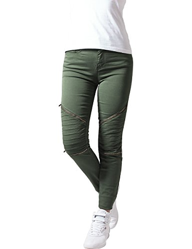 Urban Classics Damen Ladies Stretch Biker Pants Hose, Grün (olive 176), W26