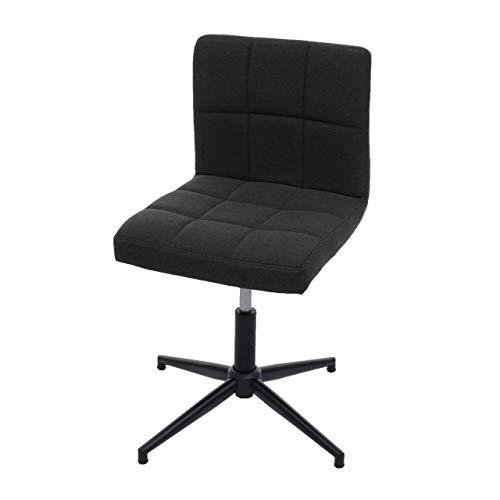 Mendler Esszimmerstuhl Kavala II, Stuhl Küchenstuhl, höhenverstellbar Drehmechanismus - Stoff/Textil dunkelgrau, Fuß schwarz