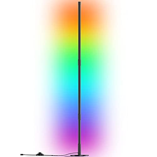 Stehlampe LED Dimmbar mit Fernbedienung, Farbwechsel Lichtsaeule RGB Farbtemperaturen Ecklampe und Helligkeit Stufenlos Dimmbar Stehleuchte, Stehlampe Wohnzimmer und Schlafzimmer, Schwarz