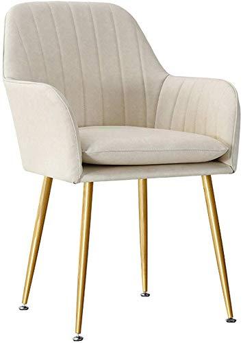 QTQZDD Nordic PU lederen eetkamer/bijzetstoelen gewatteerde zitleuning armleuning stoel waterdicht bureau-make-up stoel Home Dining Chair, beige 1 1