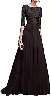 Lace Pattern Round Neck Maxi Dress Party Evening Dress for Women – black – Size M