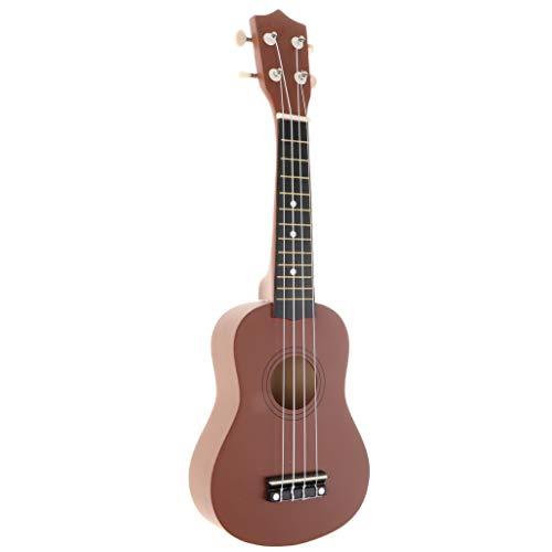 NC Kit de Inicio de Ukelele de 21 Pulgadas Vintage 4 Cuerdas Ukelele Principiante para Niños Guitarra Hawaii - café