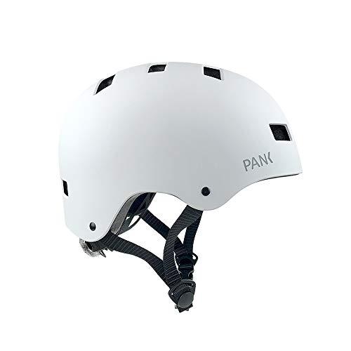 PANK URBAN MOBILITY E-Scooter Helm BMX Skates Skateboard Elektroroller LED Multi-Positionsrücklicht Sehr leichtes Design mit integrierter Belüftung Viel Komfort und maximale Sicherheit (Mattweiß, M)