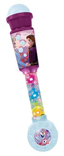 Lexibook MIC90FZ Frozen Die Eiskönigin Aufleuchtendes Mikrofon für Kinder, musikalisches Spiel, integrierte Lautsprecher, lichteffekte, Audiokabel-Stecker, lila/blau