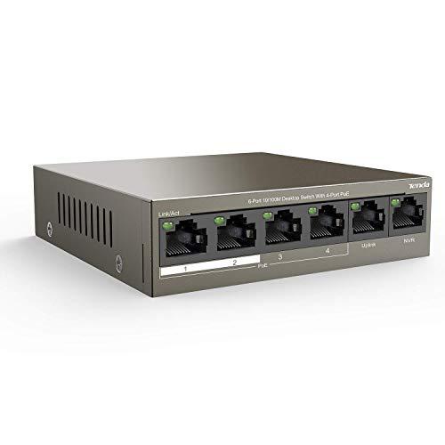 Tenda Switch Ethernet Poe 6-Porte 10/100 Mbps,QoS, Fino a 30W per Ogni Porta Poe e 58W per Tutte Le Porte , 4 Porte Poe, 2 Porte Uplink&NVR, Nessuna Configurazione Richiesta (TEF1106P-4-63W)