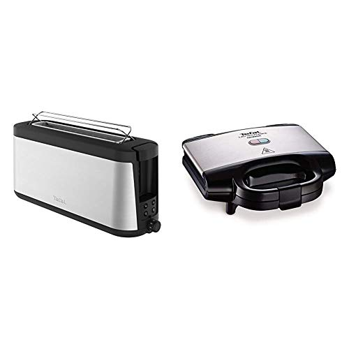 Tefal Element TL4308 Toaster, 7 Bräunungsstufen (1000 Watt) silber/schwarz & Ultracompact Sandwichmaker SM1552 [für dreieckige Sandwichtoasts; antihaftbeschichtete Platten; 700W Sandwich-Grill]