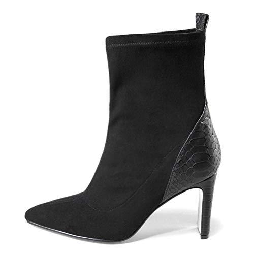 Botas de Tobillo de Ante Negro Mujer Slip en Altos Tacones otoño Invierno Elegante Elegante Botas Cortas...