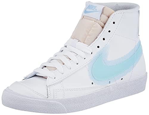 Nike Wmns Blazer Mid '77, Zapatillas de bsquetbol Mujer, White Glacier Blue Mtlc Platinum Psychic Blue, 40 EU
