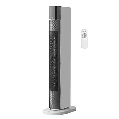 Amazon Basics Oszillierender und tragbarer Turmheizlüfter mit ECO-Modus, 2 Ventilatorstufen, 3 Heizstufen, Timer und Fernbedienung, mit EU-Stecker, 2200 W
