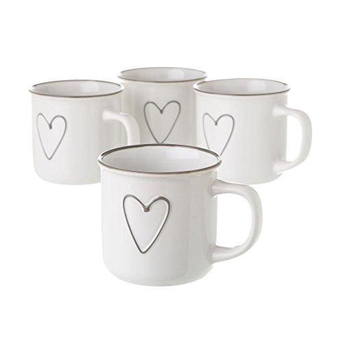 Dream Hogar Pack 4 Tazas Desayuno Corazon Ceramica Blanco