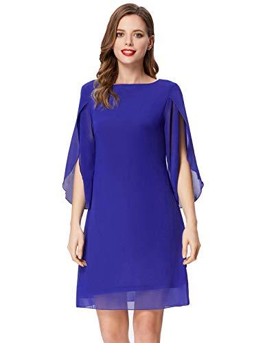 GRACE KARIN Women Business Office Dress 3/4 Sleeve Chiffon Party Cocktail Dress Blue XL