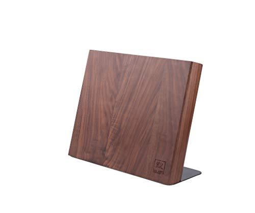Zayiko hochwertiger magnetischer Messerblock Messerbrett für bis zu 6 Messern I Zeitloses Design aus massivem Nussbaumholz mit starken Magneten und Edelstahlsockel ohne Messer