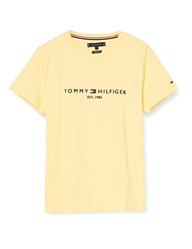 Tommy Hilfiger Tommy Logo tee Camiseta Deporte, Amarillo (Sun Ray ZFB), Large para Hombre