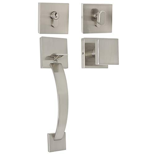 Probrico Double Cylinder Handleset with Square Knob Entry Handle Transitional Style Hardware, Brushed Nickel Door Locks for Interior and Exterior