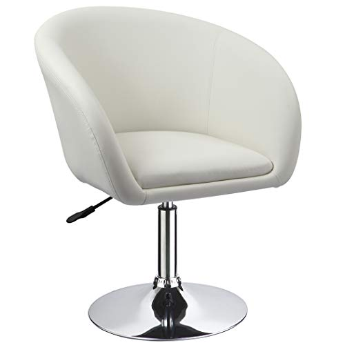 Duhome Jumbo Size Accent Chair Salon Stool Luxury PU Leather Contemporary Round Swivel Chair Tufted Adjustable Lounge Pub Bar Salon (White)