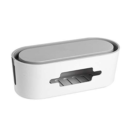 Hzb821zhup - Caja de almacenamiento para el hogar, sala de estar, escritorio, cargador, cable de alimentación, enchufe de alimentación, caja de almacenamiento hueca, contenedor organizador, Blanco, talla única