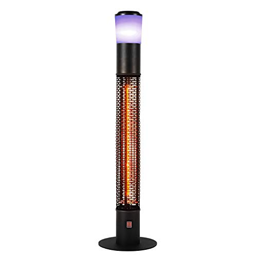 Star Patio Outdoor Freestanding Electric Patio Heater with Bluetooth Speaker, LED Light, Column Outdoor Heater Suitable as a Balcony Heater, Verandah Heater, BBQ Party Heater, ZHQ1588-RDM-SPK