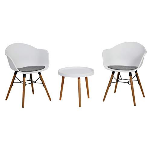 greemotion Balkonmöbel-Set Nora, Sitzgruppe aus Kunststoff und Akazienholz FSC® 100 %, Balkonset mit Tisch und zwei Stühlen, Gartenmöbel-Set inkl. Sitzkissen