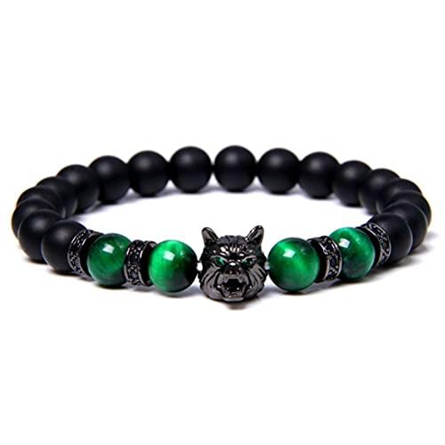 NEWMAN771Her Bracelet de Perles de Loup Bracelet de Pierre de Lave, Bracelet en Perles de Pierre d énergie Anti-anxiété Bracelet en Perles de tête de Loup Bracelet Chanceux pour Femmes