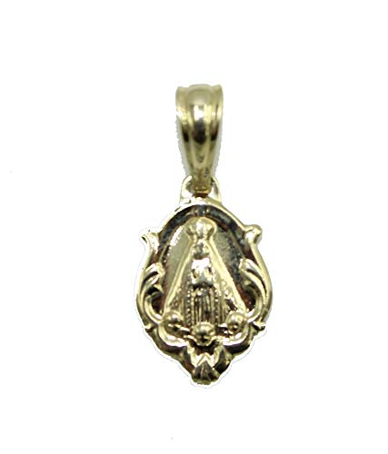 Diamantados of Florida Medalla de Nuestra Señora de los Ángeles chapada en Oro de 18 K con Colgante de Virgen de Los Ángeles de 18 Pulgadas