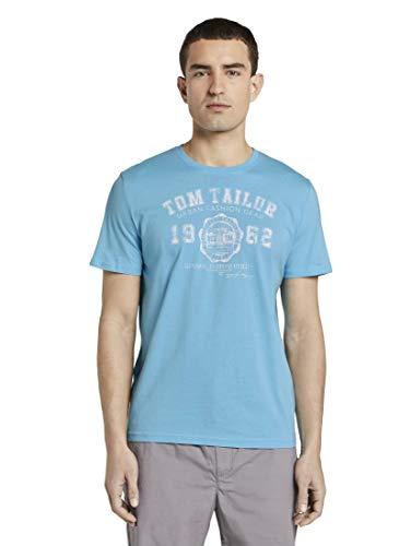 TOM TAILOR Herren T-Shirts/Tops T-Shirt mit Logo-Print Crystal sea Blue,L