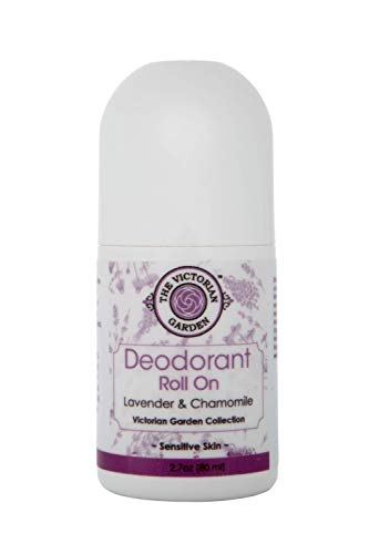 The Victorian Garden Natural Scented Antiperspirant Deodorant for Women - Lavender and Chamomile Essential Oils Roll On - Vegan, Magnesium Mineral Deodorant - 2.7 Ounces