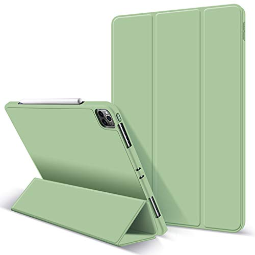 ZryXal iPad Pro 11 Case 2020 with Pencil Holder (2nd Generation), Premium Protective Case Cover with Soft TPU Back and Auto Sleep/Wake Feature for 2020/2018 iPad Pro 11 (Matcha Green)