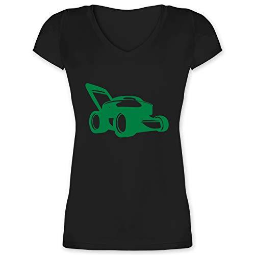 Andere Fahrzeuge - Rasenmäher - M - Schwarz - Haushaltsgeräte - XO1525 - Damen T-Shirt mit V-Ausschnitt
