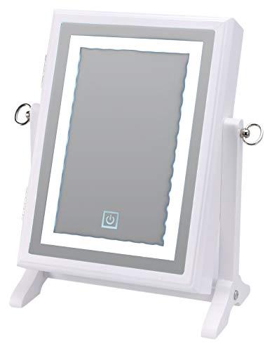 Schmuckschrank mit LED Beleuchtung Spiegel Schminkspiegel Kosmetikspiegel Frisierspiegel Schmuckständer Standspiegel Schmuckregal   40 LEDs   Touch-Schalter   26,5x23x6,5cm   Weiß