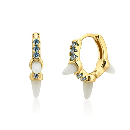 925 plata oro 8 9 mm aros de circonita Huggies Spike cristal natural piedra bucles pendiente para joyería-oro azul