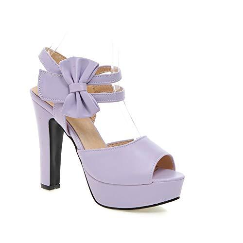 Mujeres's Sandalias De Tacón,Encaje Bowknot Tacones Gruesos,Verano Peep-Toe Comodidad Tobillo Correa Zapatos Morado 38 EU