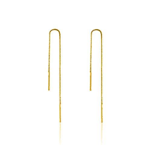 Pendientes Mujer Pendientes De Cadena Colgantes De Plata Simples para Mujer Pendientes De Enhebrador De Cadena De Plata De Ley 925 Joyería De Moda - Oro