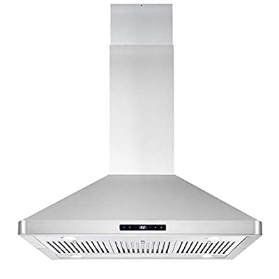 Cosmo COS-63ISS90 Island Range 3-Speed Fan, 380 CFM, Permanent Filters, LED Lights, Soft Touch Controls, Ducted Kitchen Vent Hood Extractor, 36 inch, Stainless Steel