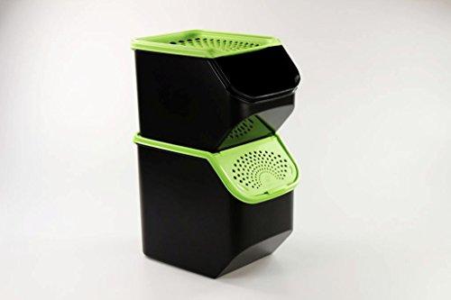 TUPPERWARE 8,3 L + 5,5 L Kartoffel-Lager & Zwiebel-Lager schwarz grün 10169