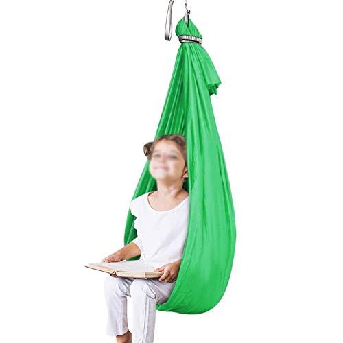 LICHUXIN Columpio de terapia incluido con necesidades especiales hamaca ajustable para niños, columpio de yoga aéreo activo ideal para autismo ADHD sensorial (color: verde, tamaño: 150 x 280 cm)