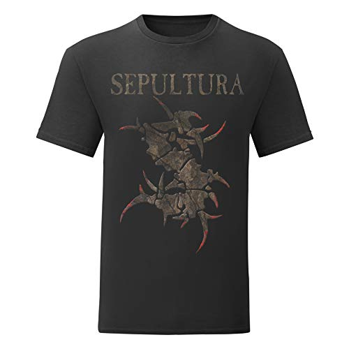 LaMAGLIERIA Camiseta Hombre Sepultura - Monster Logo - T-Shirt Metal Band 100% algodòn, M, Negro
